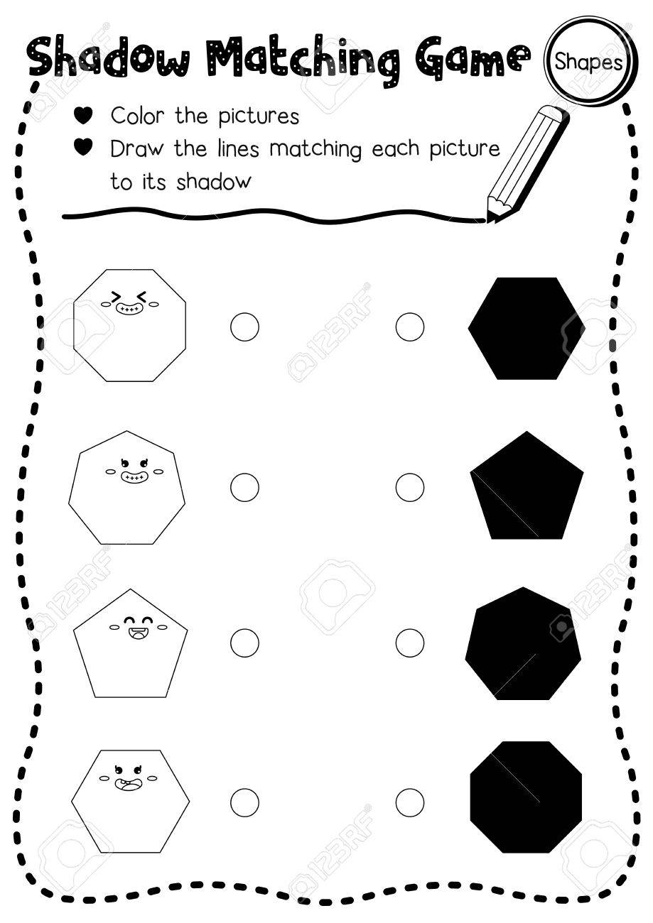 shadow matching game of shapes for preschool kids activity worksheet layout in a4 coloring printable version - Kids Activity Worksheet