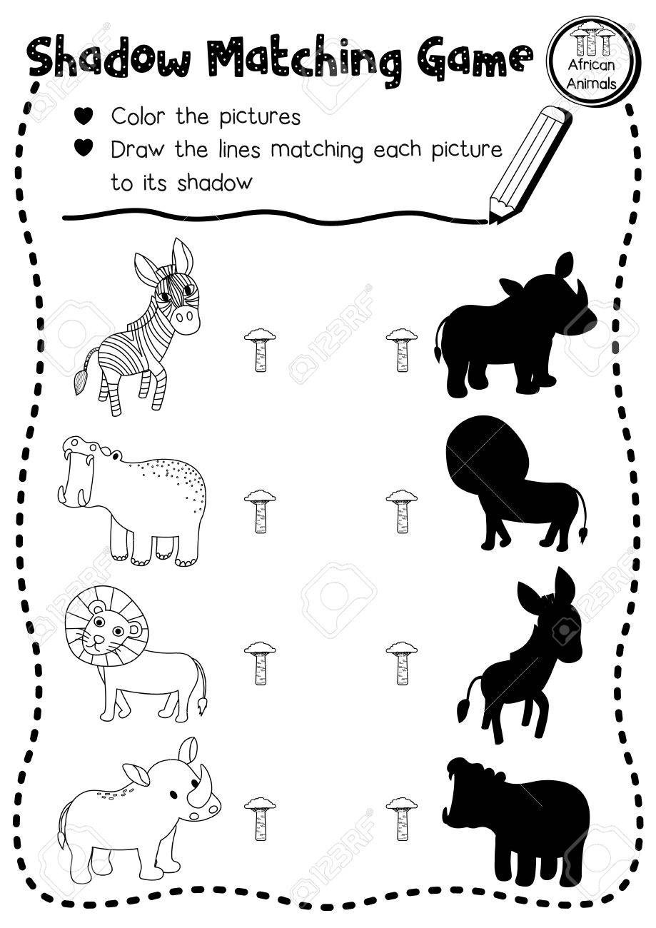 image regarding Animal Matching Game Printable named Shadow matching activity of african pets for preschool children sport..