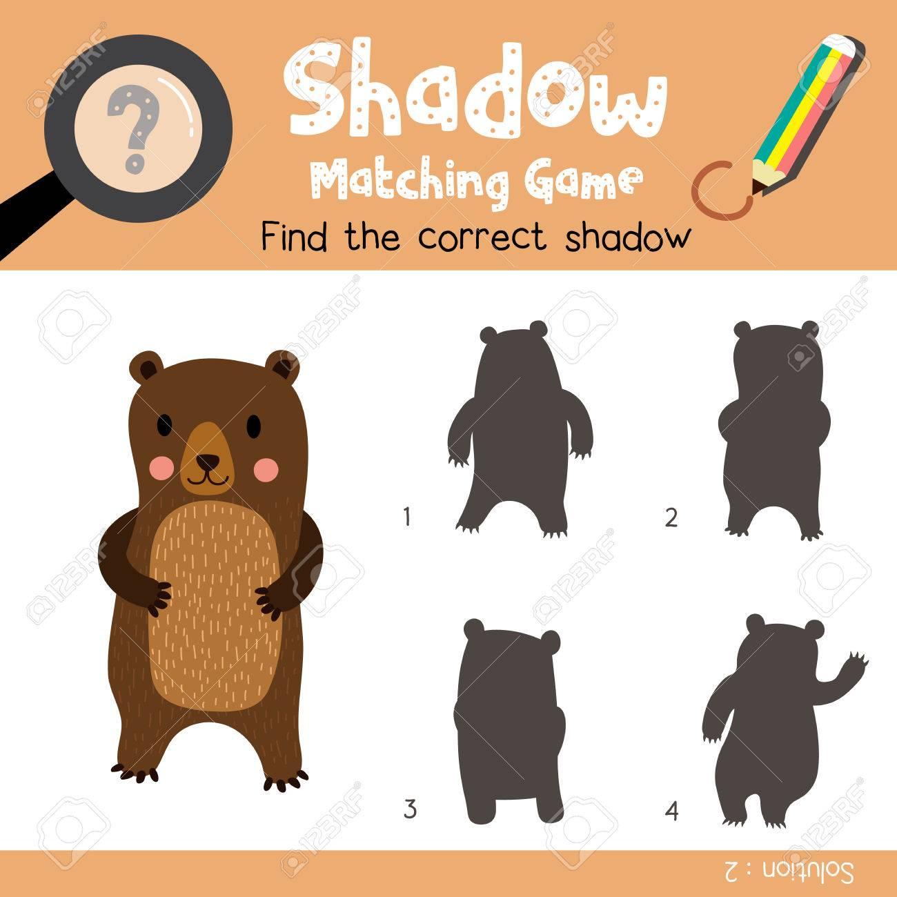 Shadow Matching-Spiel Von Standing Bear Tiere Für Vorschulkinder ...