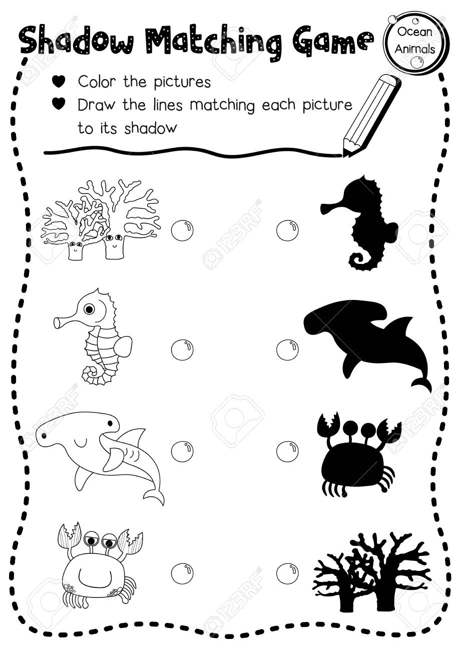 graphic about Animal Matching Game Printable named Shadow matching video game of ocean pets for preschool children match..