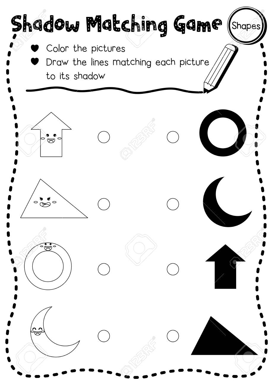Shadow matching game of shapes for preschool kids activity worksheet..