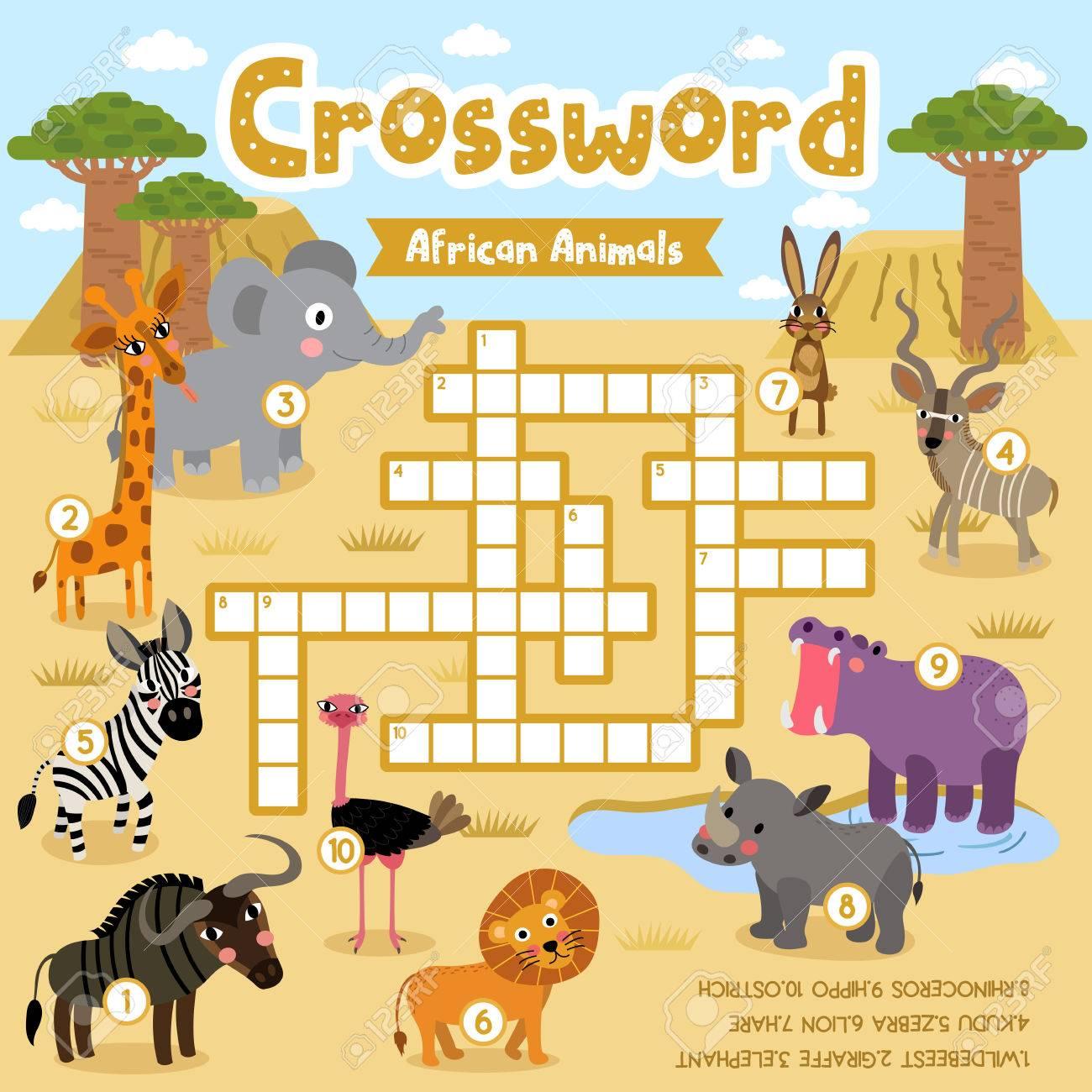 Kreuzworträtsel-Puzzle-Spiel Von Afrikanischen Tieren Für ...