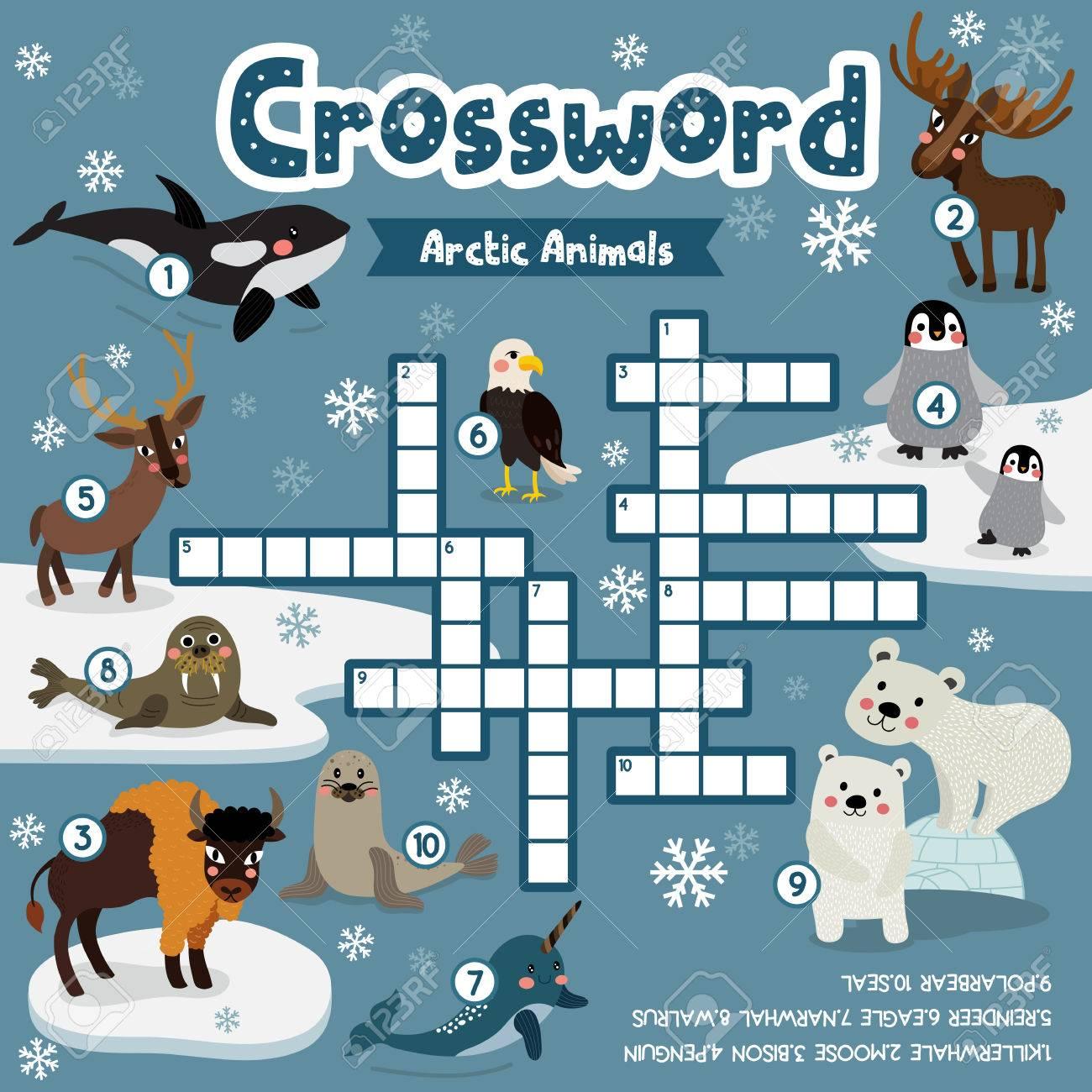 Crosswords Puzzle Game Of Arctic Animals For Preschool Kids Activity ...