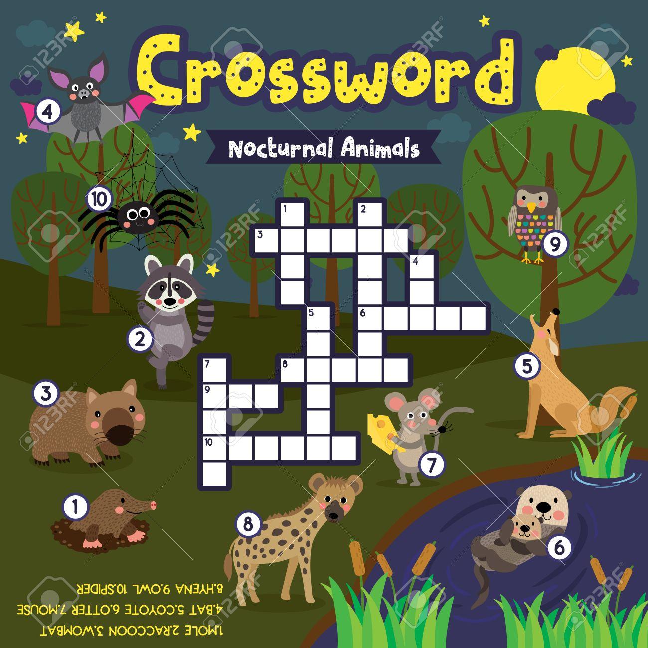 Kreuzworträtsel-Spiel Von Nächtlichen Tiere Für Kinder Im ...