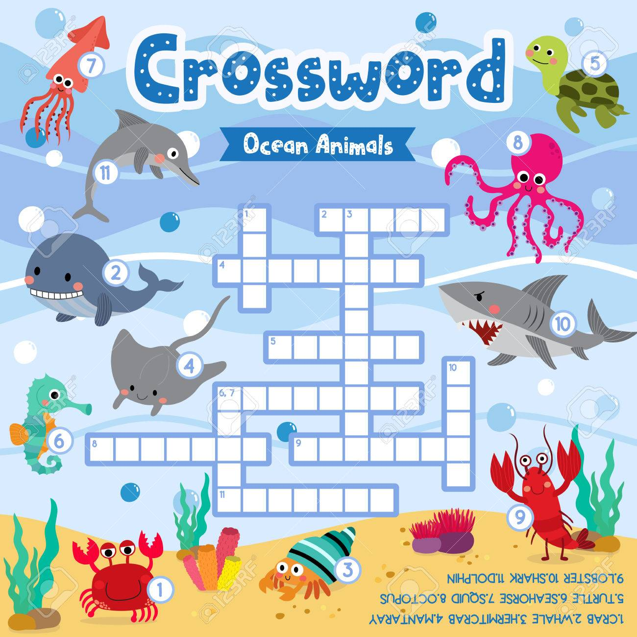 Crosswords Puzzle Game Of Ocean Animals For Preschool Kids Activity Worksheet Colorful Printable Version Vector