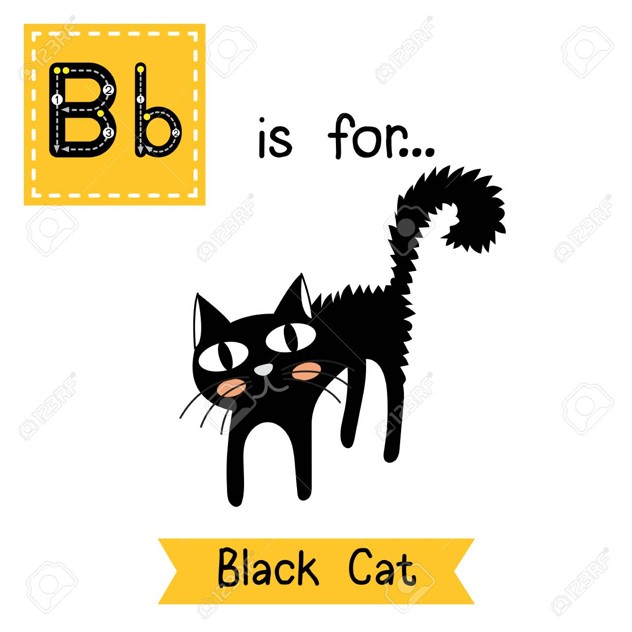 Nette Kinder Abc Alphabet B Brief Tracing Flashcard Von Black Cat