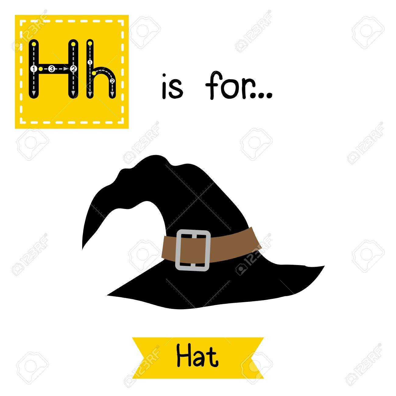 3acc6af1749 Cute children ABC alphabet H letter tracing flashcard of black witch Hat  for kids learning English