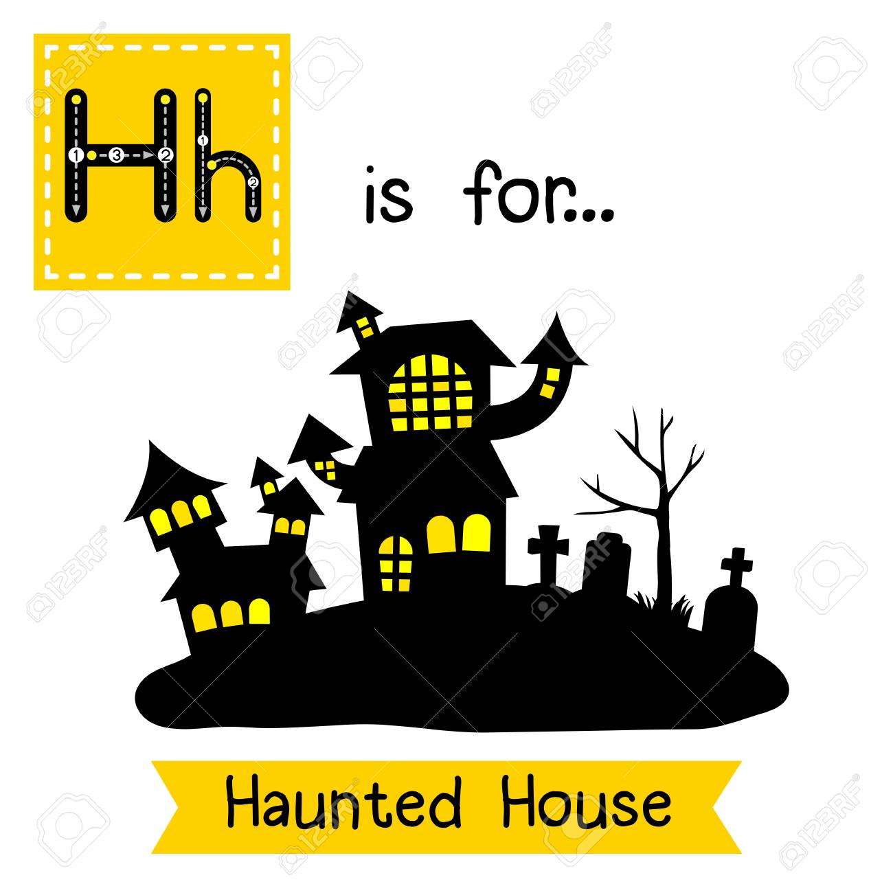 fa1fcac043f Cute children ABC alphabet H letter tracing flashcard of Haunted House for  kids learning English vocabulary