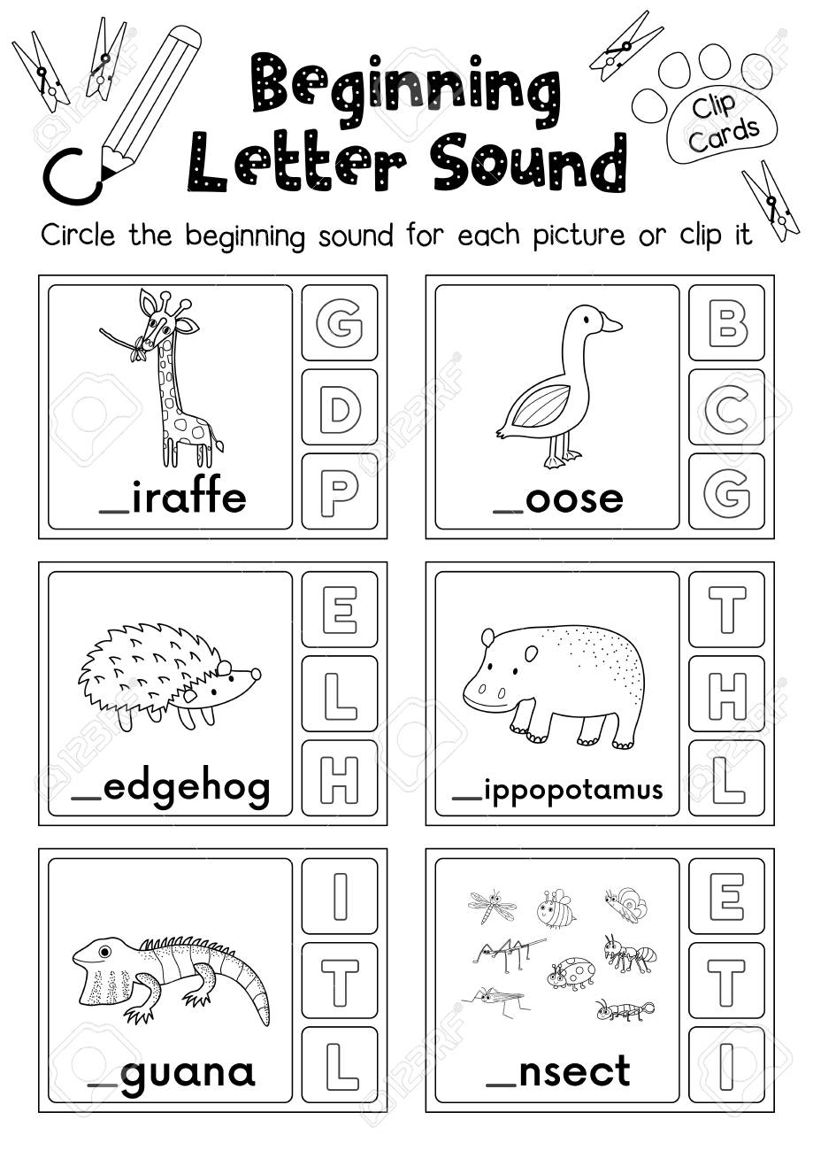 Clip Cards Matching Game Of Beginning Letter Sound G, H, I For ...