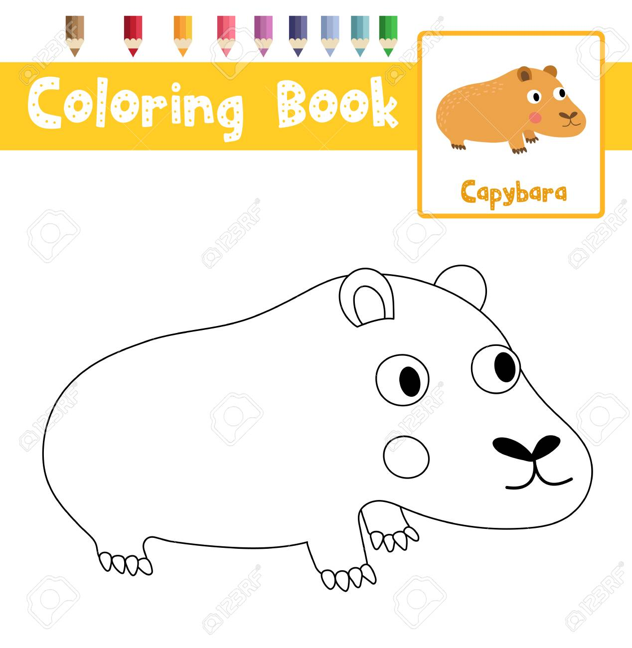Coloring Page Of Capybara Animals For Preschool Kids Activity ...