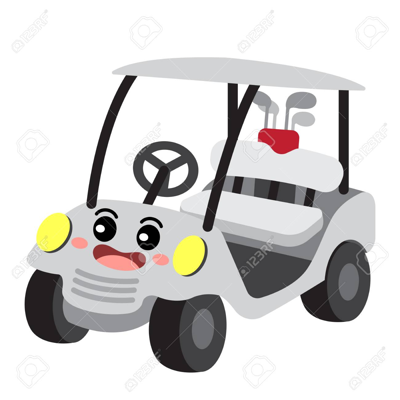 Golf Cart Transportation Cartoon Character Perspective View Isolated Royalty Free Cliparts Vectors And Stock Illustration Image 104069618