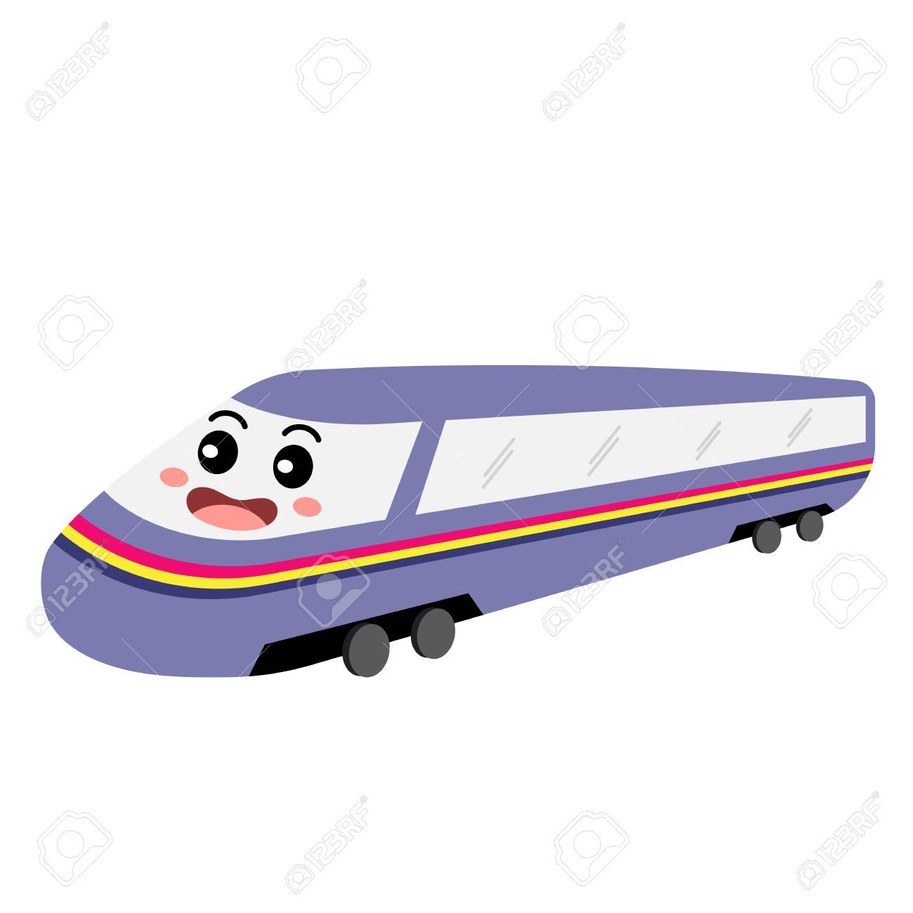 Bullet Train transportation cartoon character perspective view