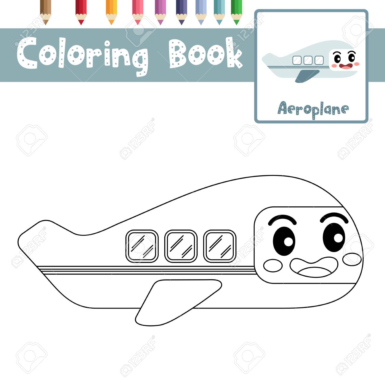 Coloring Page Of Cute Aeroplane Cartoon Character Side View