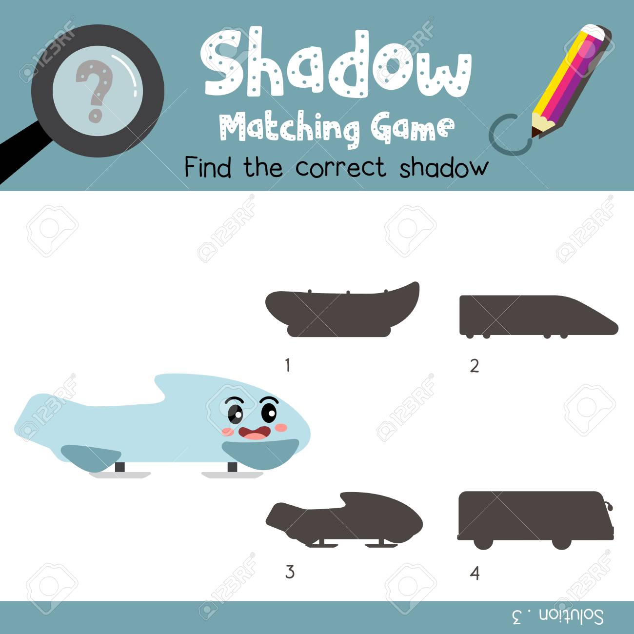 Shadow Matching Game Of Bobsleigh Side View Transportations For ...