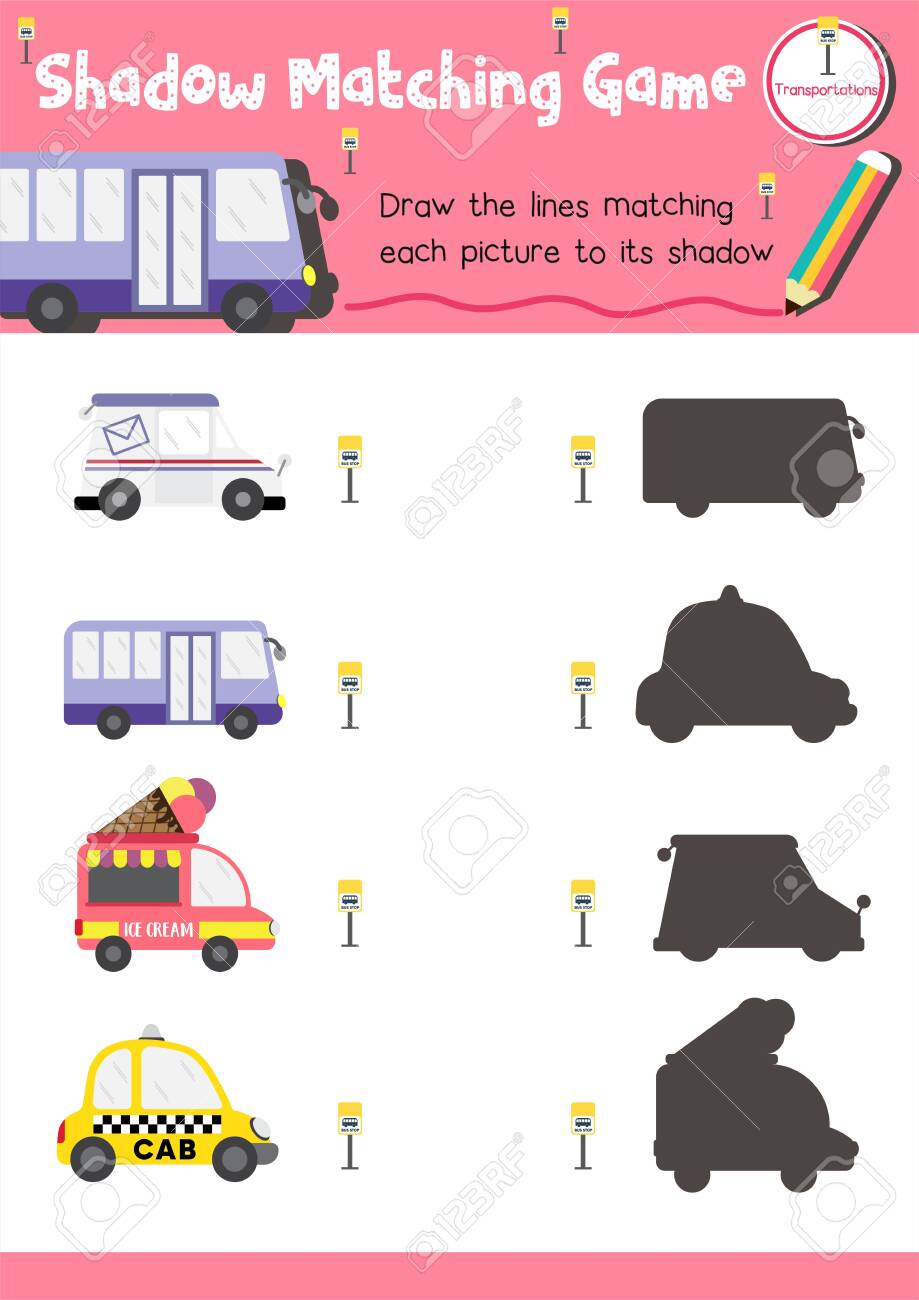 Shadow matching game for preschool kids activity worksheet in Transportation theme colorful printable version layout in A4. - 140539186
