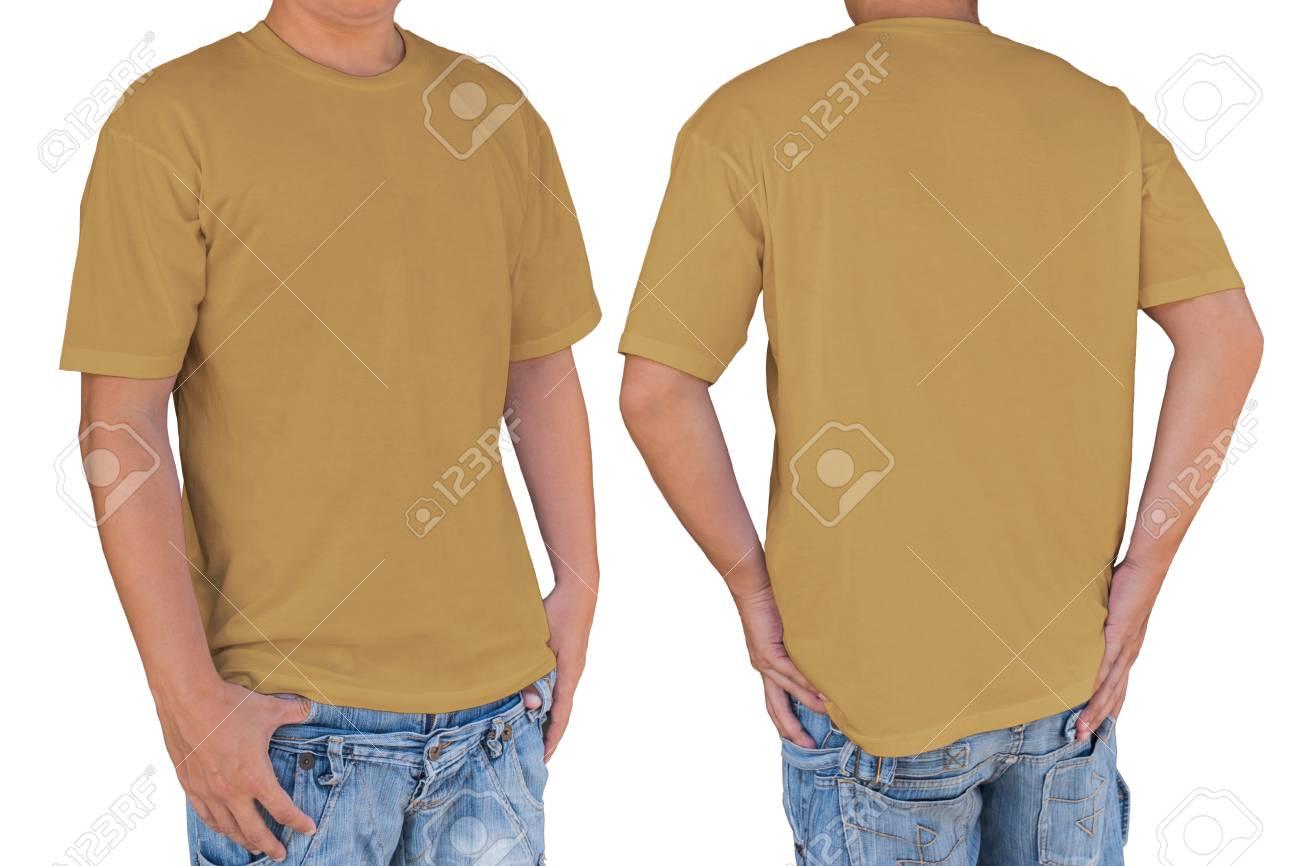 Man Trägt Leere T-Shirt Mit Vorder- Und Rückansicht. Vorlage, Muster ...