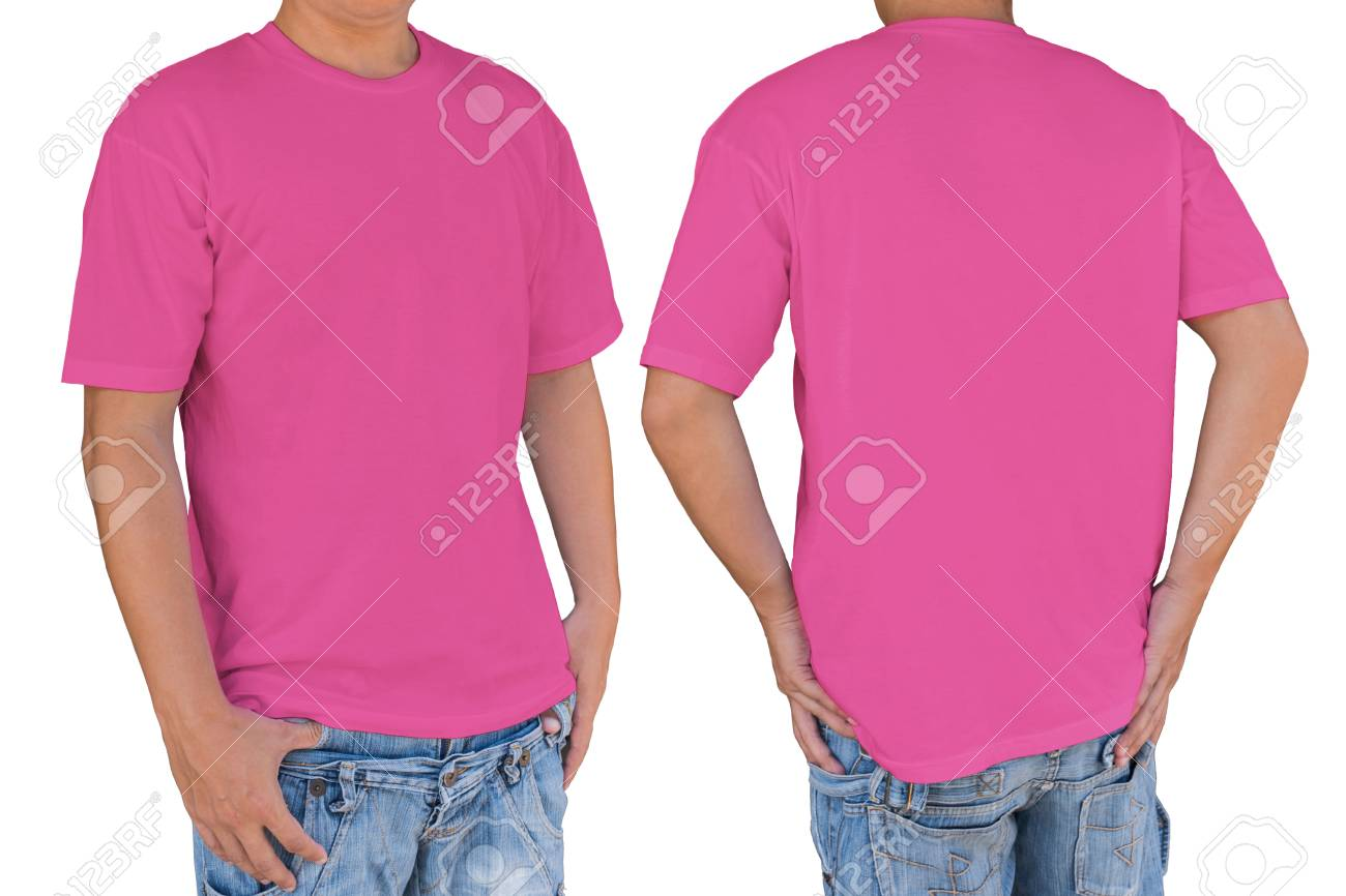 1cbd2f11118b Man wearing soft pink color t-shirt , front and back view. Template for