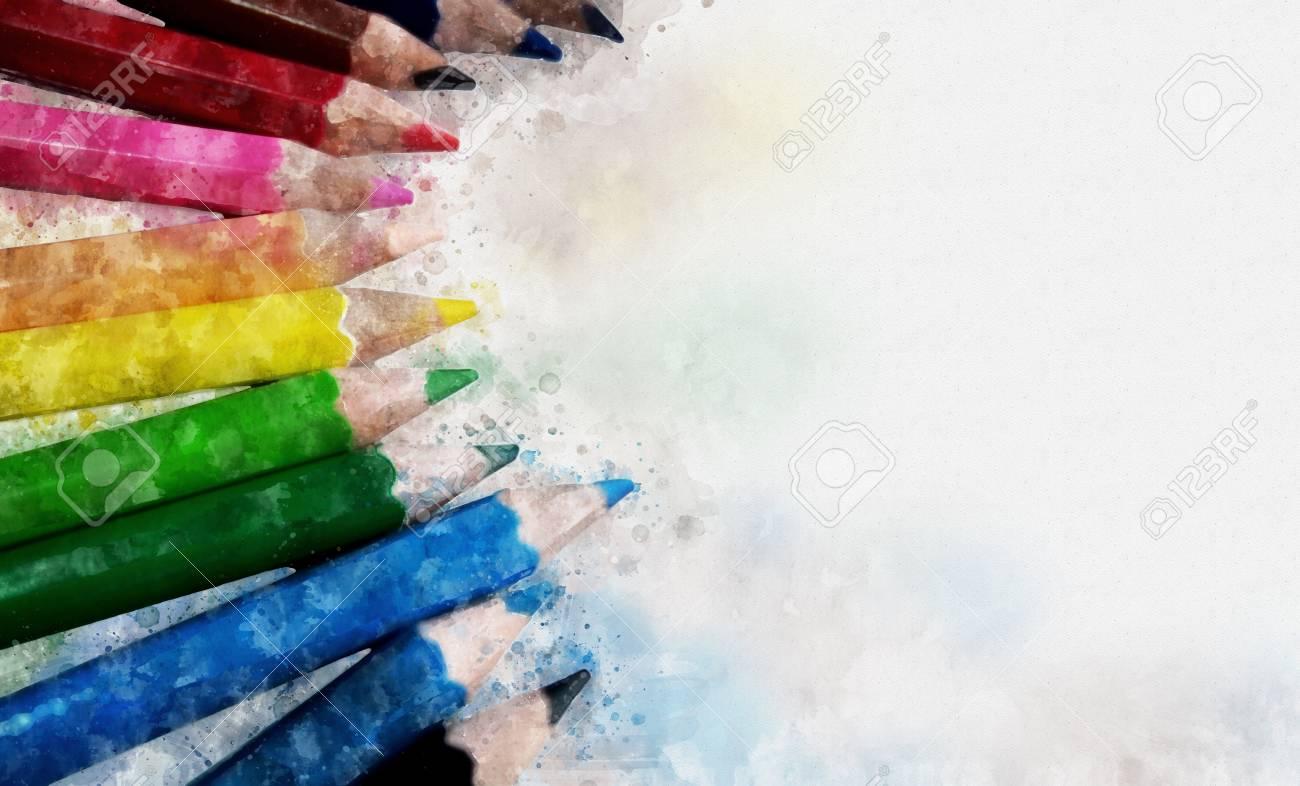 Peinture Numerique De Crayons De Couleur Style Aquarelle Banque D Images Et Photos Libres De Droits Image 78132615