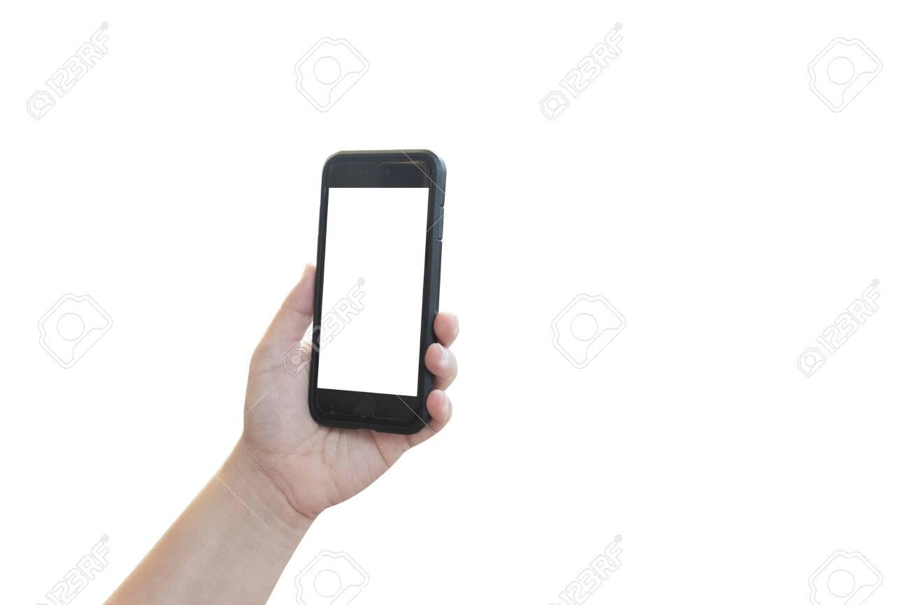 hand holding black phone isolated - 147216381