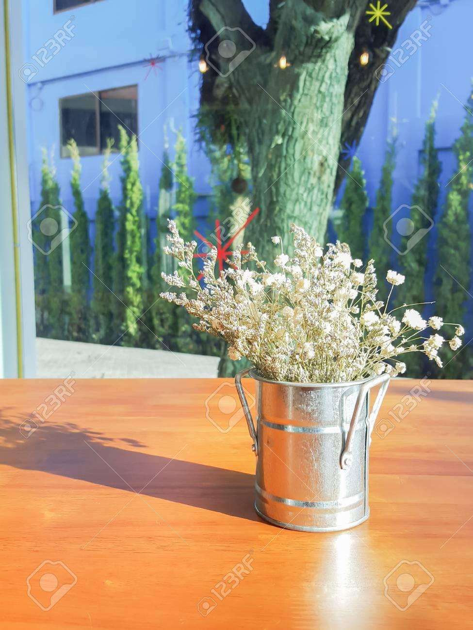 Bouquet Of White Gypsophila Babys Breath Flowers On Wooden