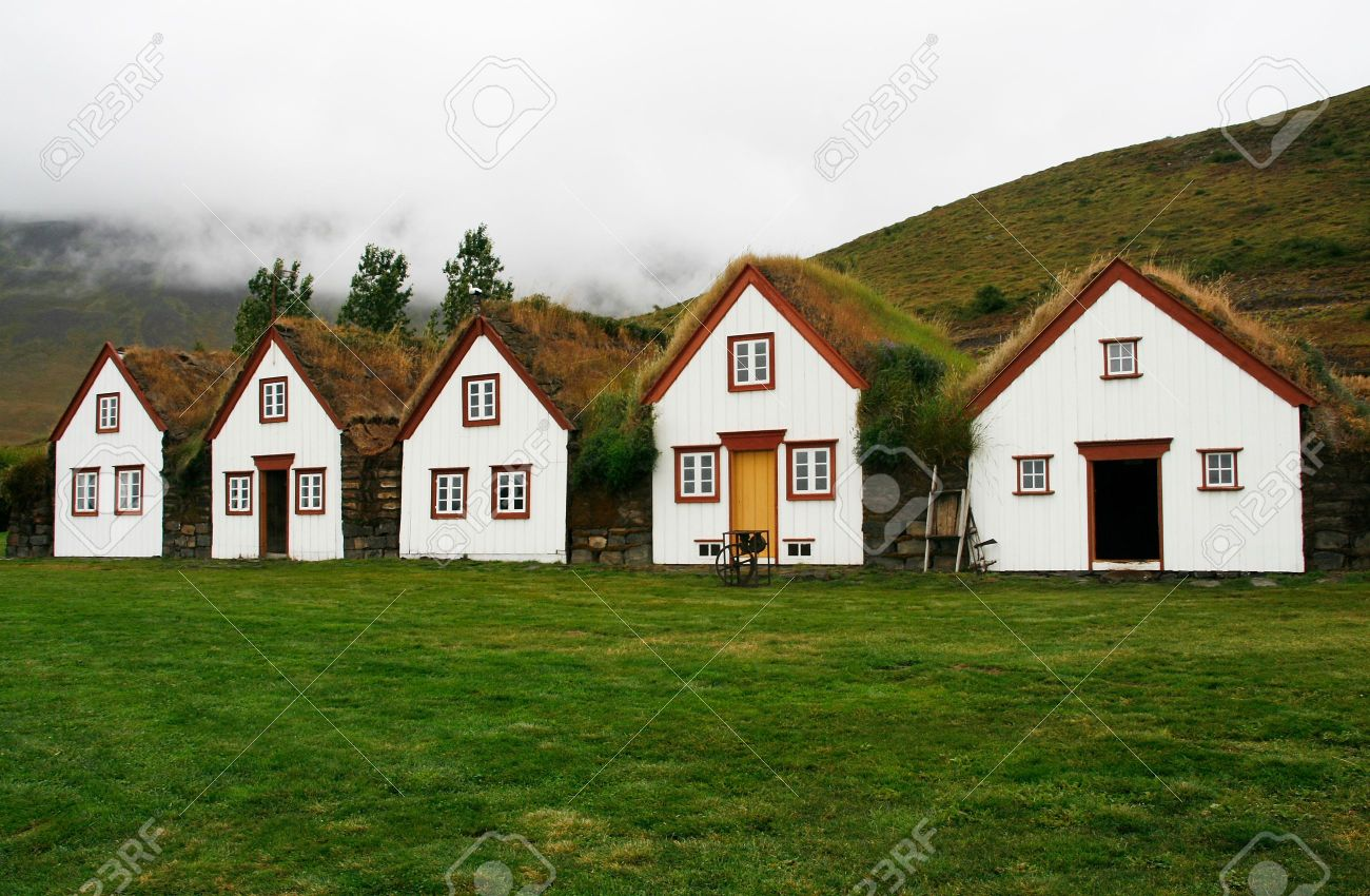Traditional houses with turf roofs in Laufas, north Iceland Stock Photo - 7150892