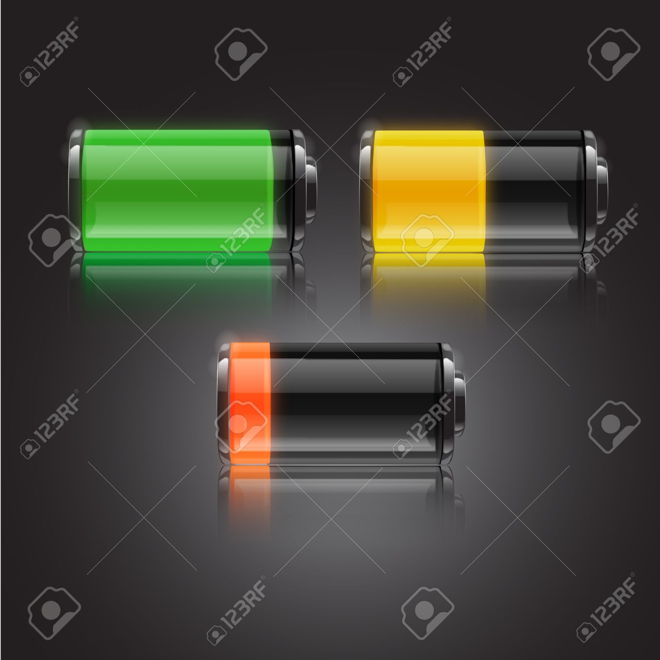 Battery Status Icon Symbol Charger Power Yellow Vector Electricity ...