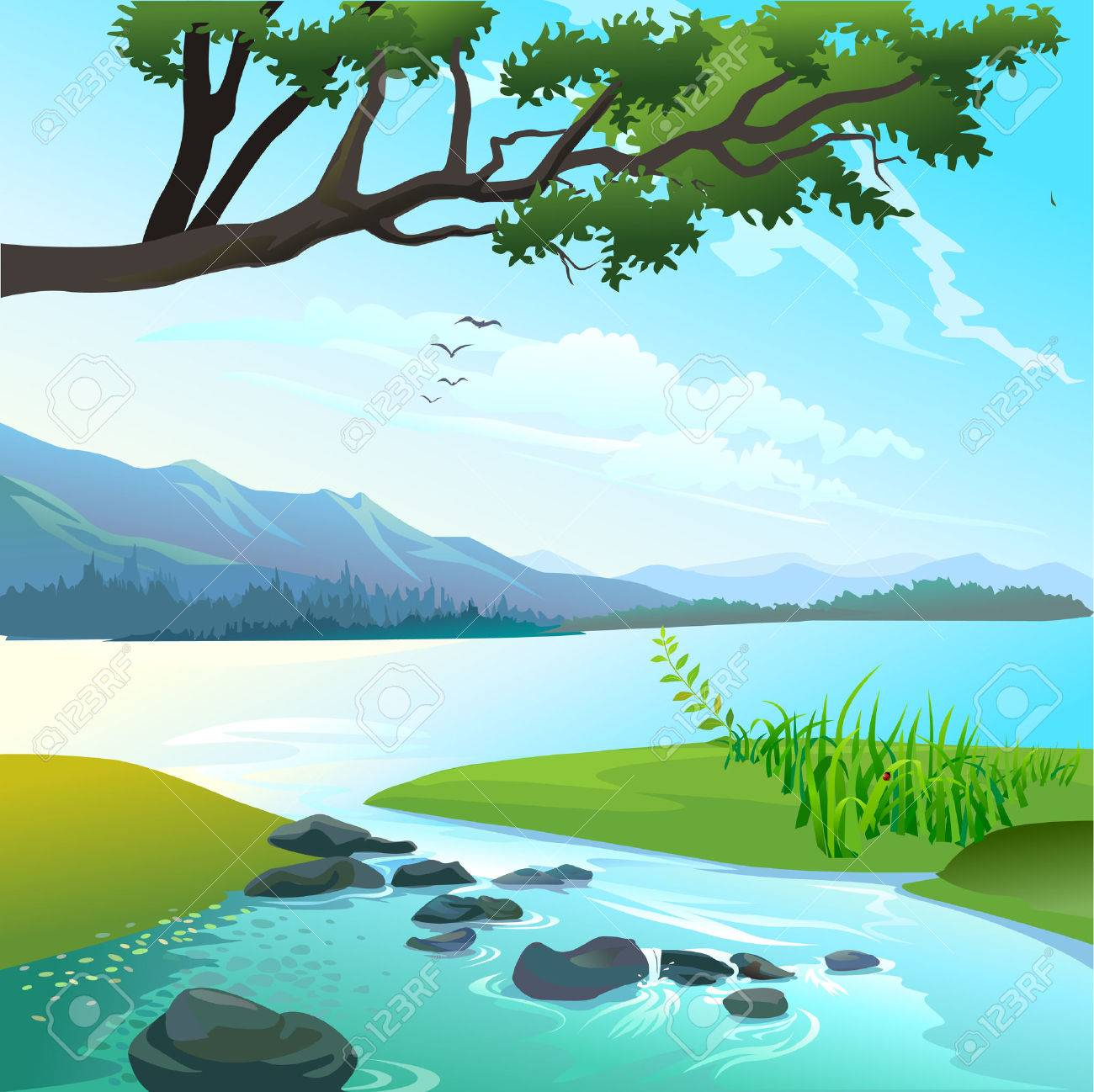 river landscape vector royalty free cliparts vectors and stock illustration image 43797424 river landscape vector