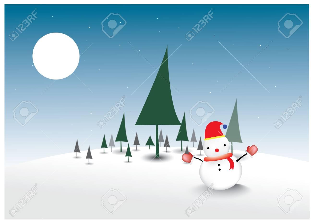 Snowman on Christmas tree background Stock Vector - 16911564