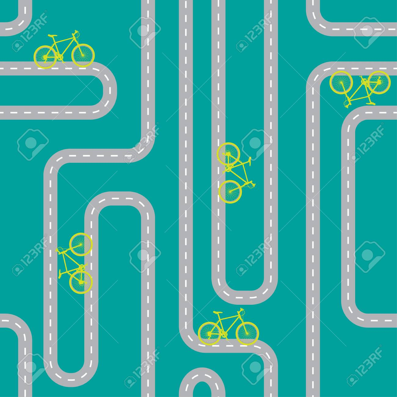 Seamless pattern with mountain bike on the way Stock Vector - 17552297