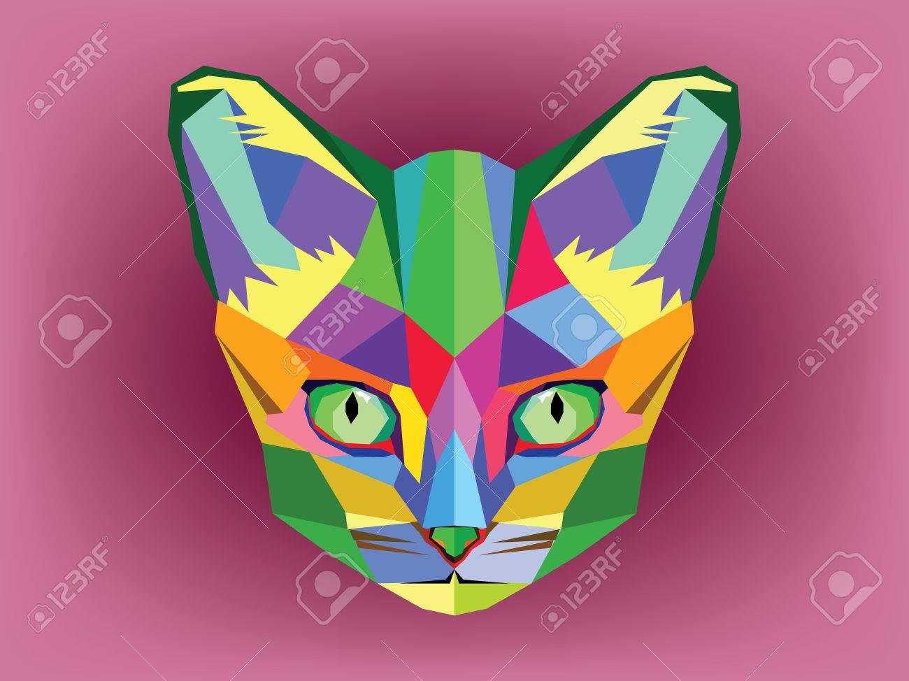 Geometric Cat Head Cat Head With Geometric Style