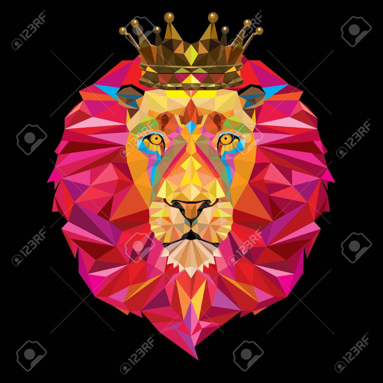 Tete Roi Lion A Motif Geometrique Avec La Couronne Clip Art Libres