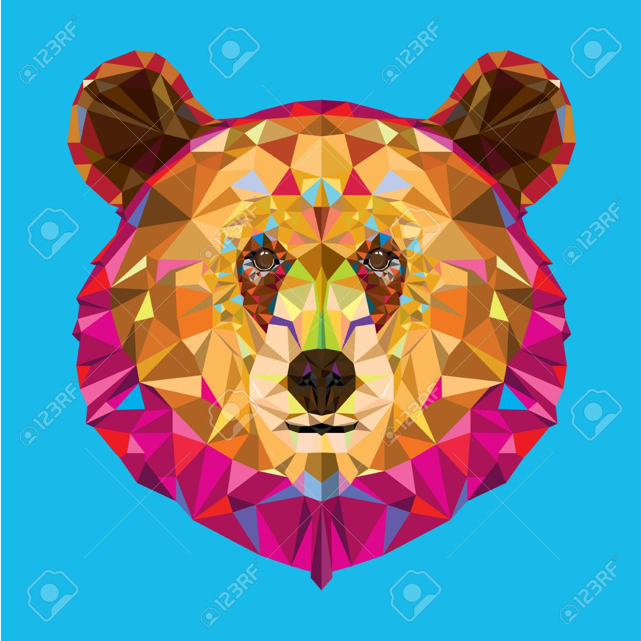 Head of grizzly bear in geomeyric pattern - 27695393