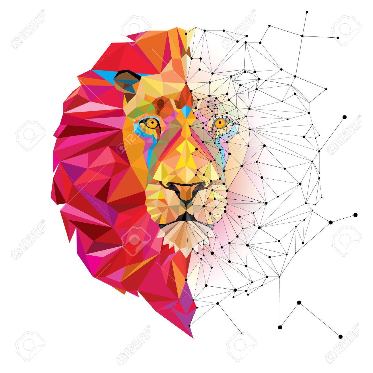 Geometric Cat Head Lion Head in Geometric Pattern