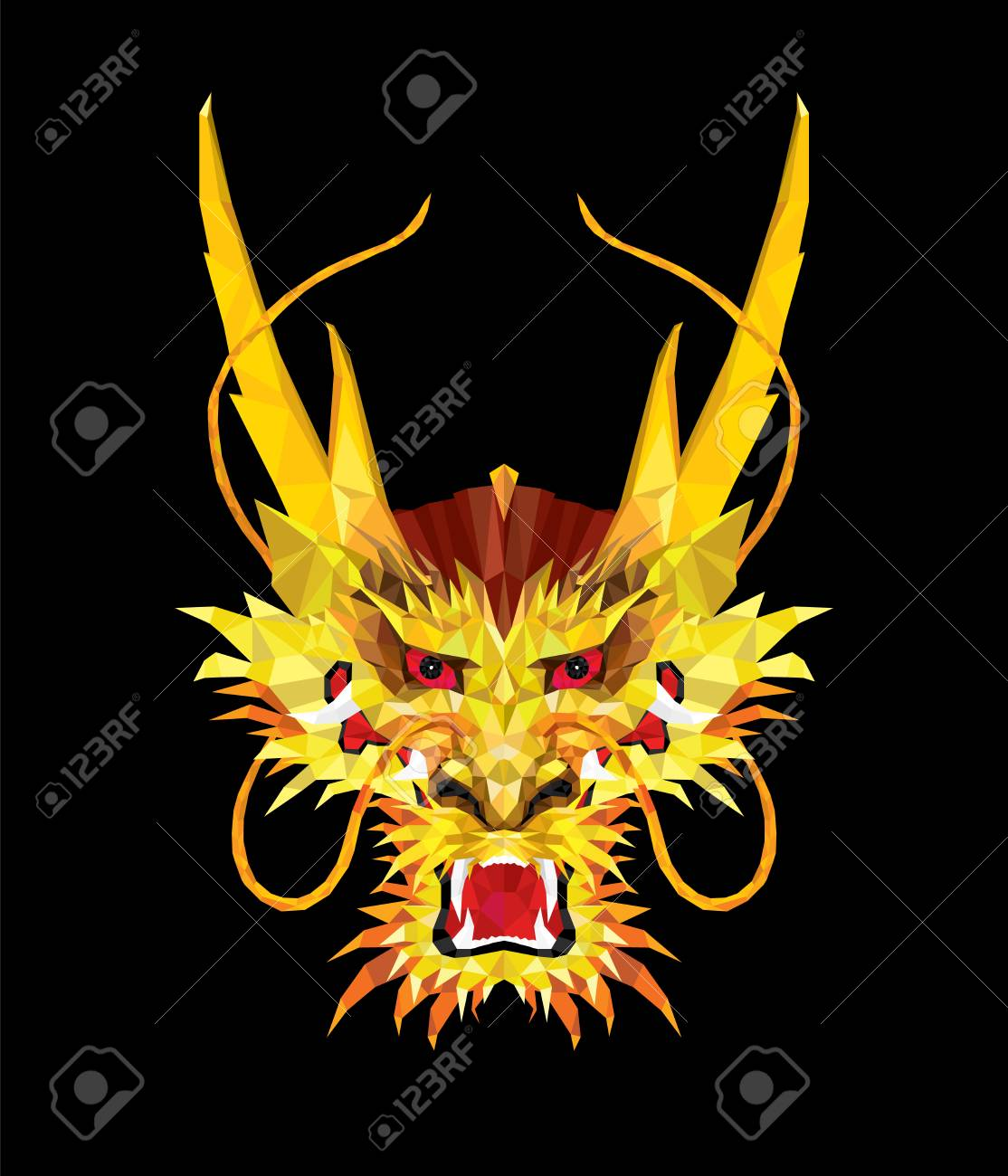 Aggressive Asian Dragon in low polygon style, Geometric pattern,