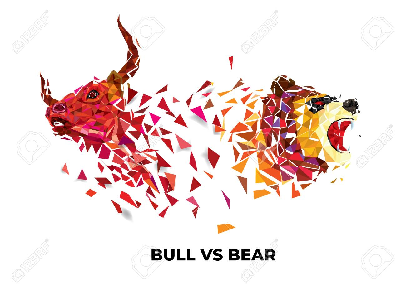 Bull and Bear symbols on stock market vector illustration. vector Forex or commodity charts, on abstract background. The symbol of the the bull and bear - 110079104