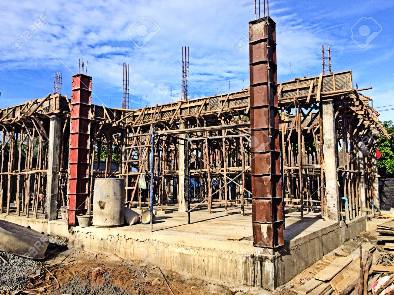 Pouring Concrete To The Second Floor Structure Complete Stock Photo Picture And Royalty Free Image Image 100415327