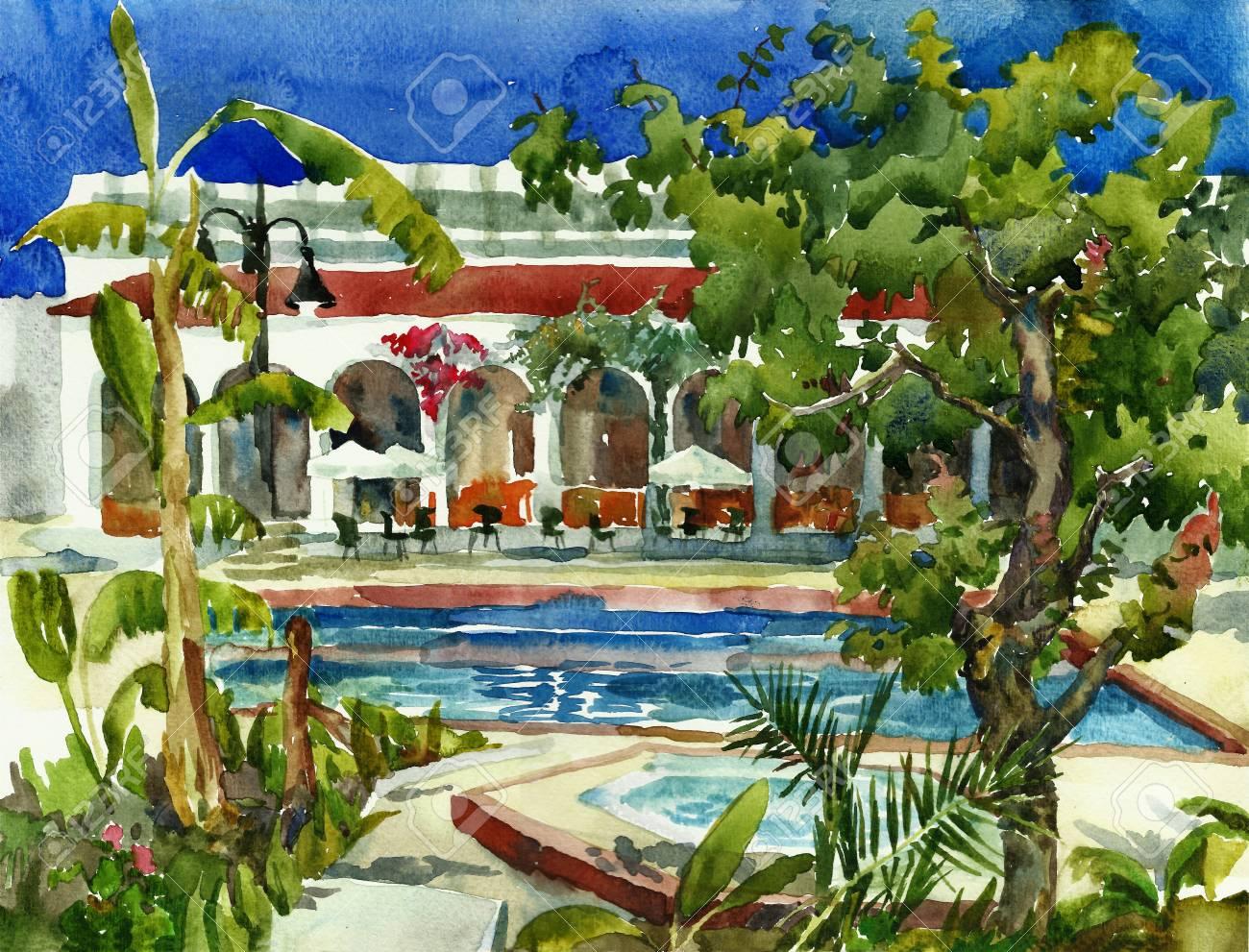 hotel all include watercolor Stock Photo - 12633689