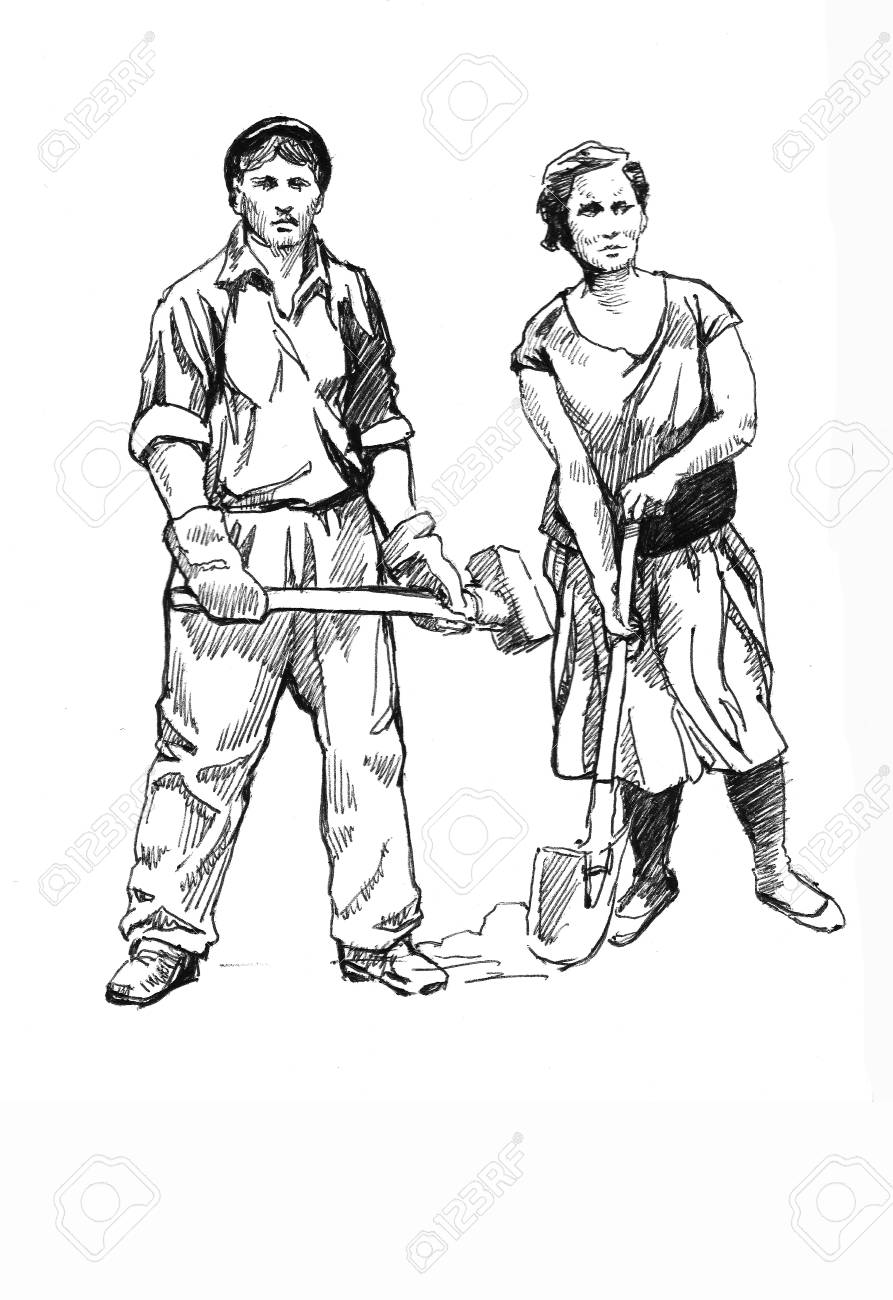 worker s family Stock Photo - 12633634