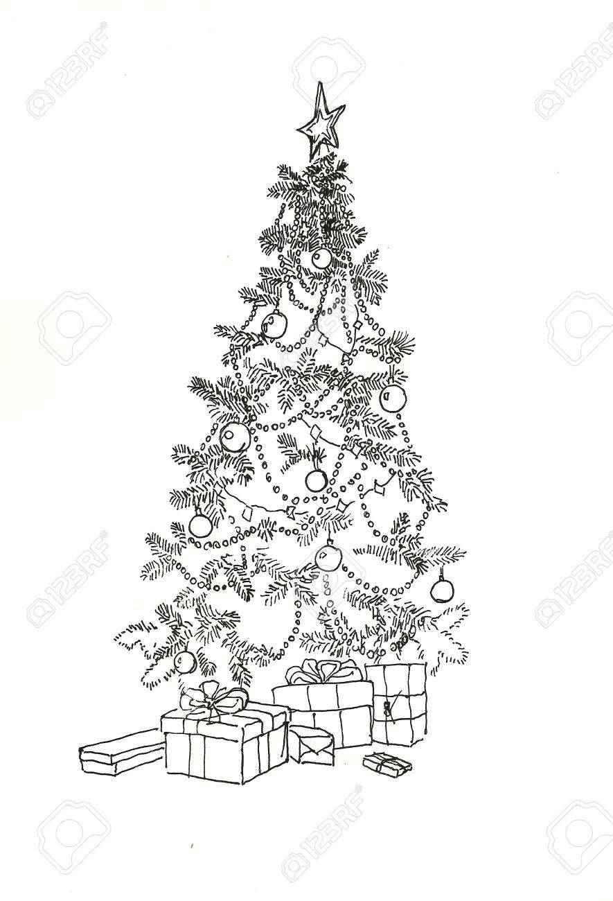 Christmas tree with decoration and gifts line art drawing