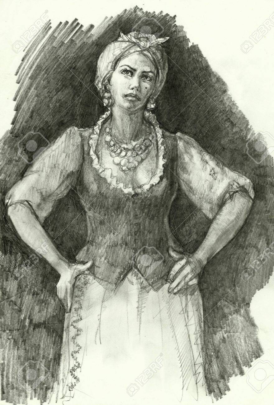 Sexy woman in traditional ukrainian cloyhing character drawing stock photo 17385877