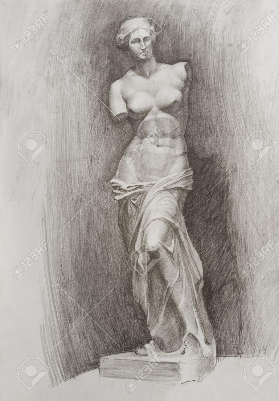 Lápiz De Dibujo Estudio De La Escultura Venus De Milo Desnuda