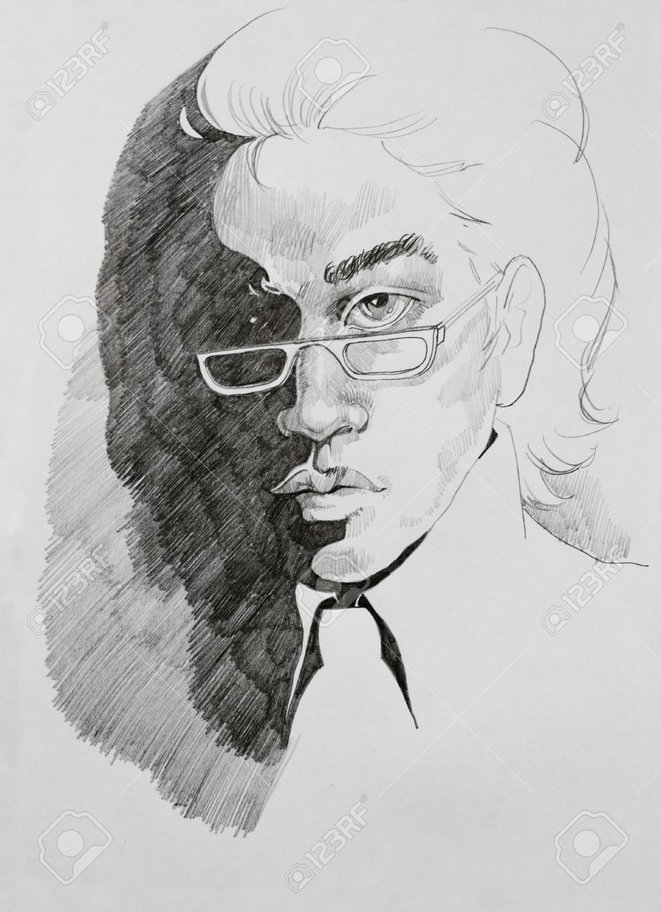 Pencil drawing portrait of young man in glasses stock photo 19589364