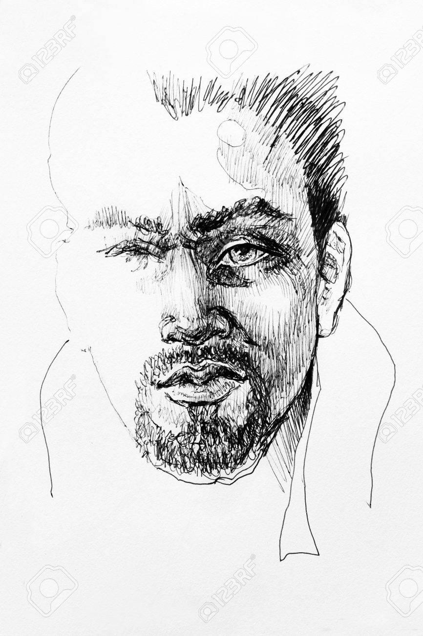 Dessin Homme Illustration Caractère Portrait De Croquis Sur Papier Encre