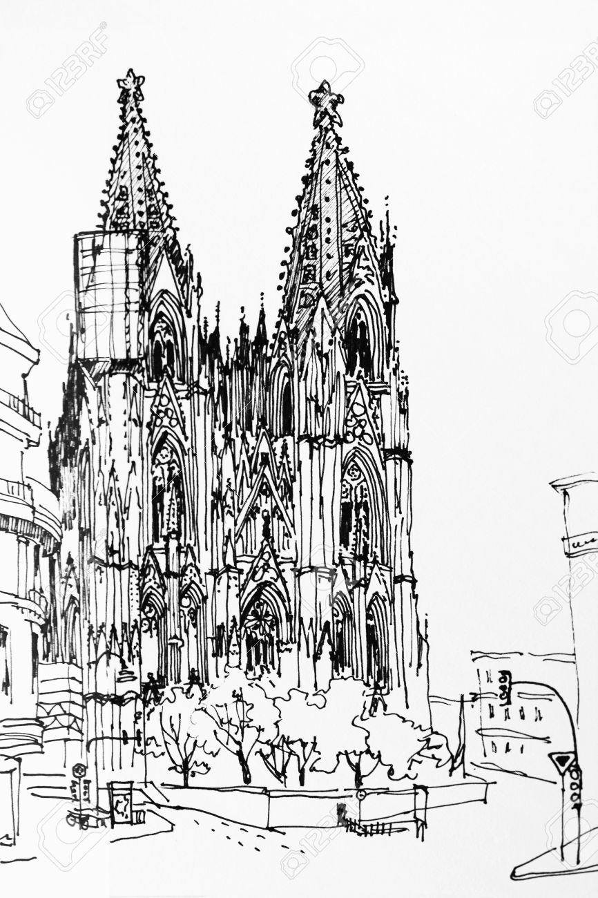 Koln Cologne Dome Gothic Church Speed Drawing Architectural Ink Sketch Germany Europe