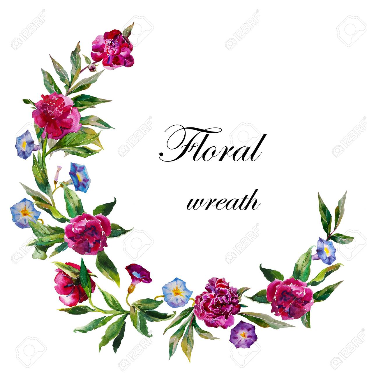 watercolor peony wreath garland. Vibrant floral circle pattern with dark peonies and blue and purple convolvulus isolated on white background - 141411169