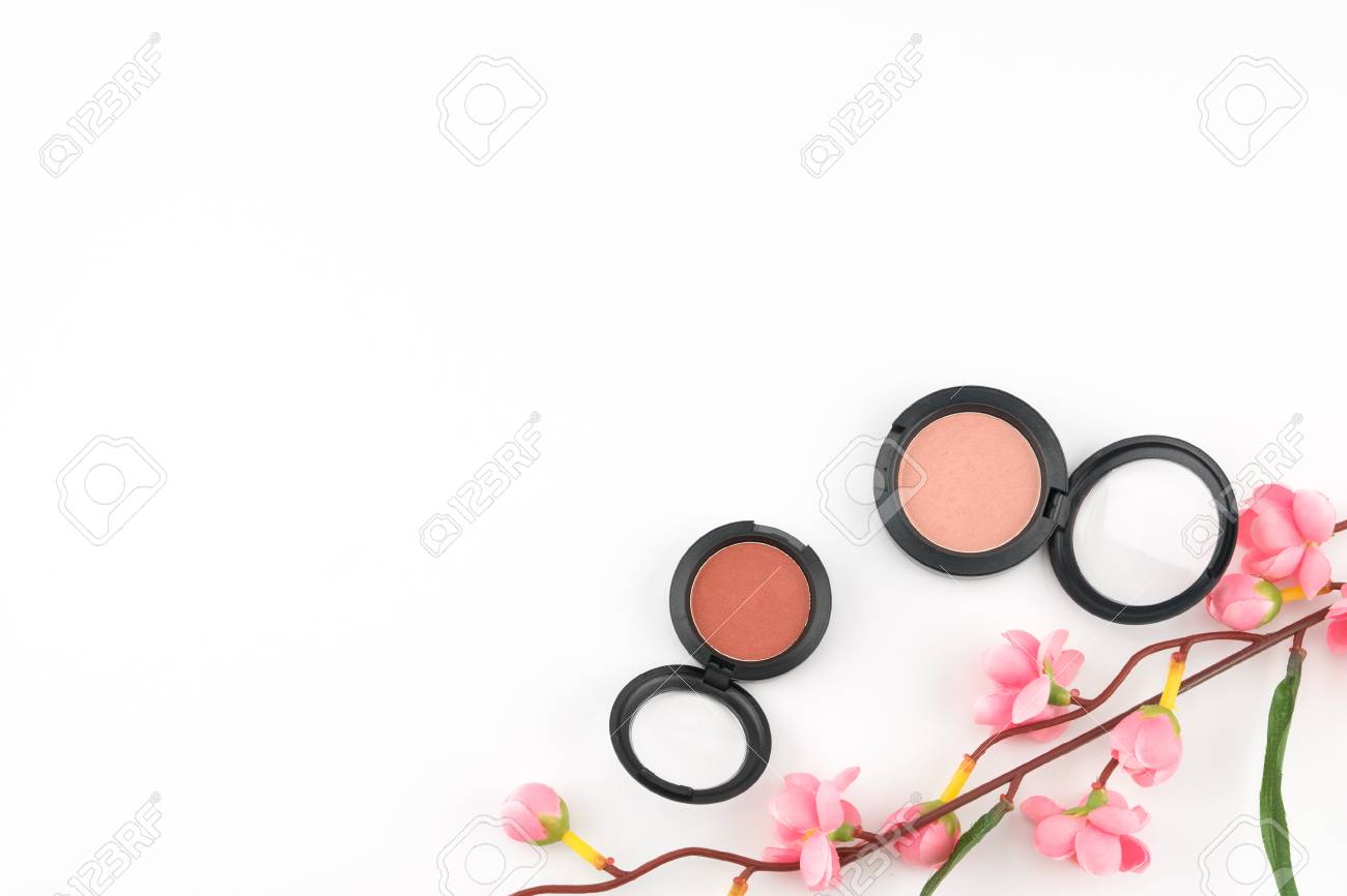 Pink And Orange Blush Decorated With Fake Pink Flower Branches