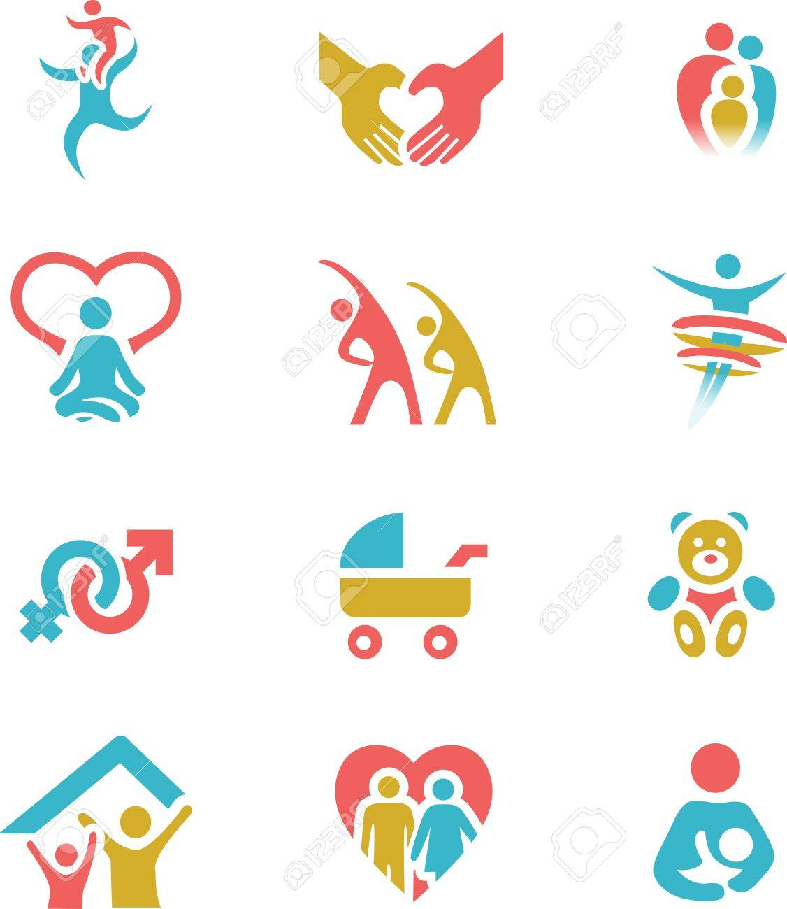 Colorful Family Wellness and Health Icon Set Vector Illustration Stock Vector - 18406658