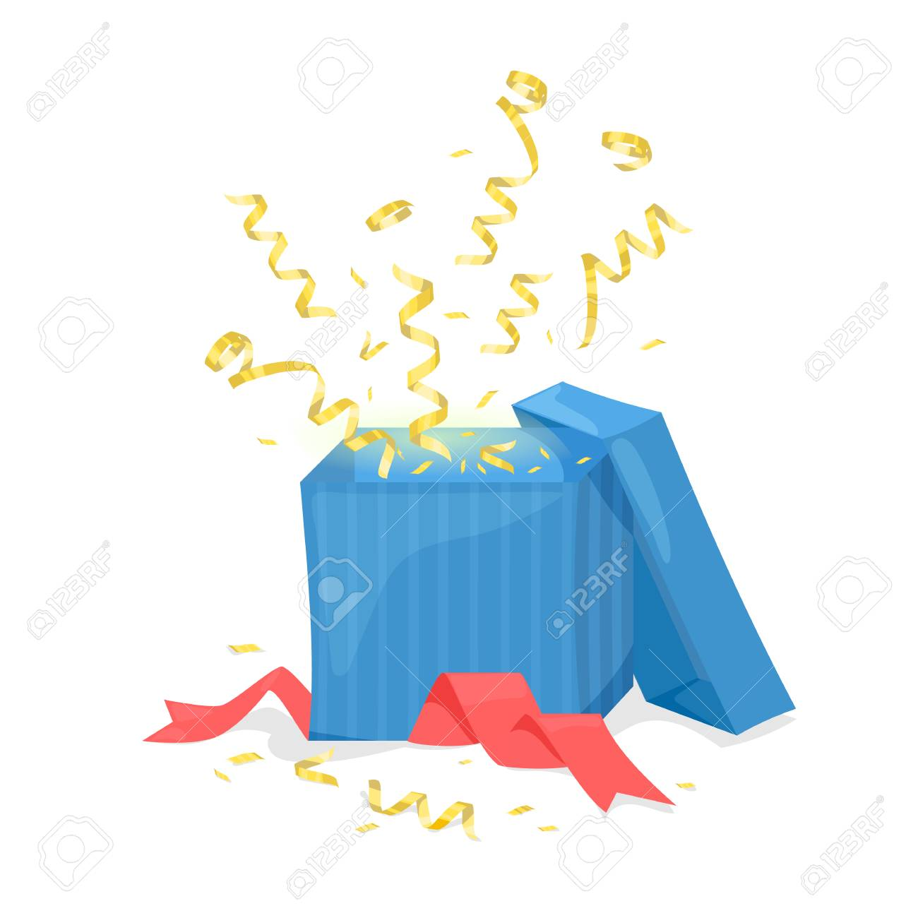 Open gift box explode gold ribbon and confetti. Vector illustration Stock Vector - 87269151  sc 1 st  123RF.com & Open Gift Box Explode Gold Ribbon And Confetti. Vector Illustration ...