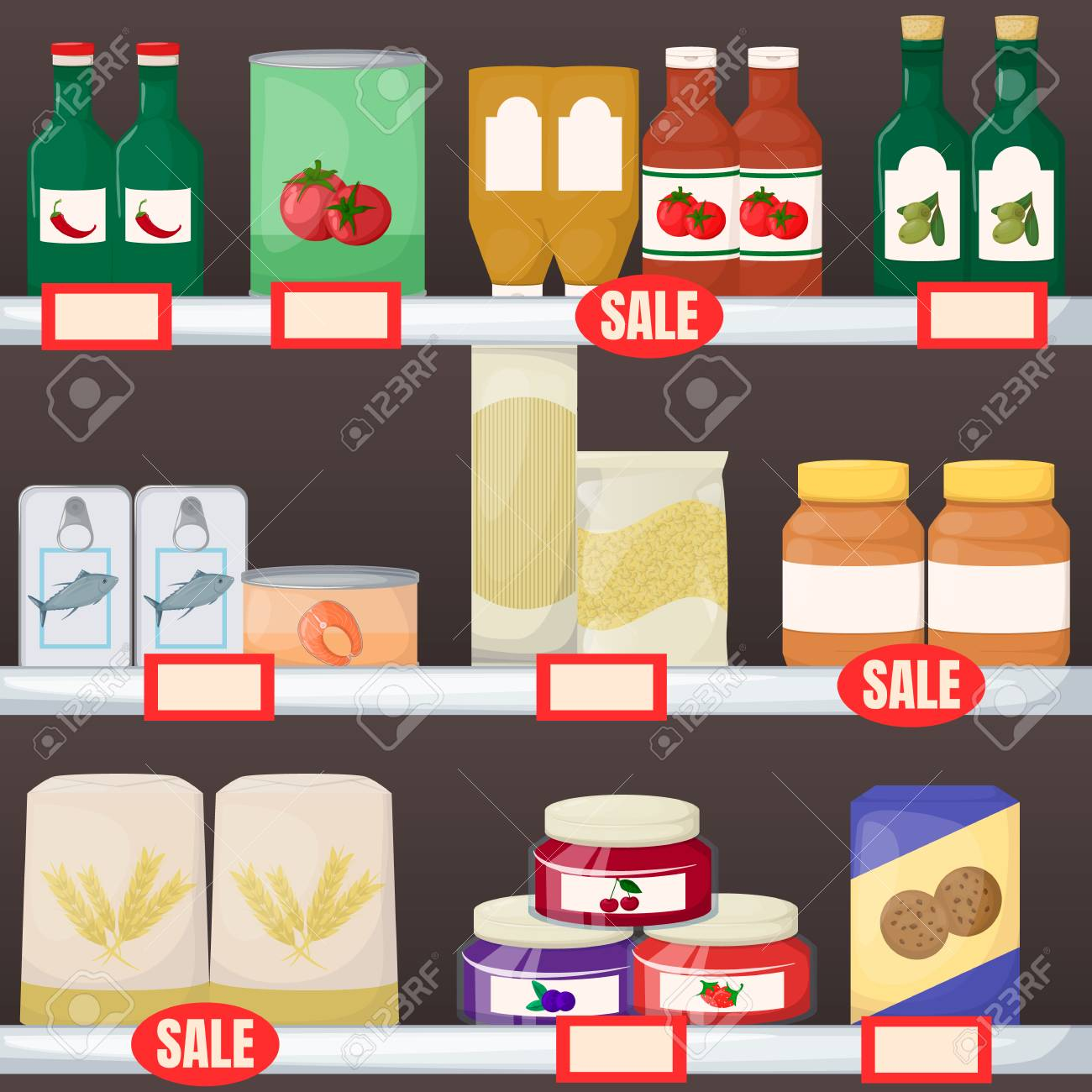 Set of grocery. Product on supermarket shelves. Jam, oil, pasta, flour cookie and canned Cartoon vector illustration - 125638856