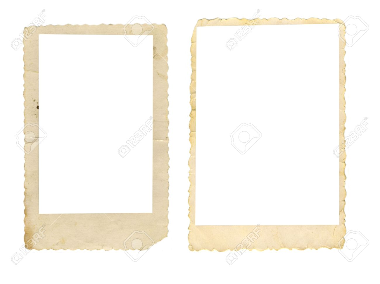 Two Old-fashioned Wavely Cut Paper Photo Frames Isolated On White ...